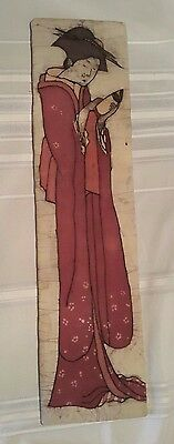 Artist Signed Original Batik Art by Leslie Glasspoole '' Geisha Reading'' 32 x 8