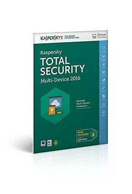 KASPERSKY TOTAL SECURITY 2016/17 3 PC DEVICE - MULTI DEVICES - New - Download