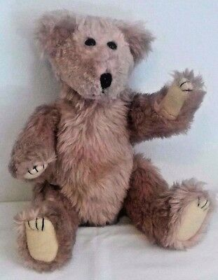 Vintage Teddy Bear Jointed, Black Eyes, Stitched Nose, 11 Inches