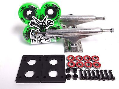 Independent 159mm Skateboard Trucks Bones Rough Riders 59mm Green wheels combo