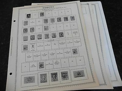 L52 Mauritius 9 Minkus binder Pages from 1849-1977 w/ 8 stamps
