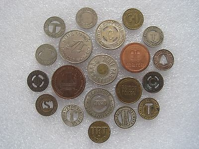 20 Different Transit Transportation Tokens Mixed Sizes & Locations Lot 1C199