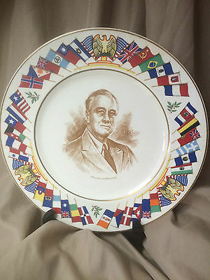 FRANKLIN D. ROOSEVELT ALLIED NATIONS COMMEMORATIVE Plate By Salem China Co