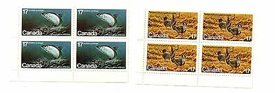 Canada - 1980 Endangered Wildlife 4th series mint blocks of postage stamps