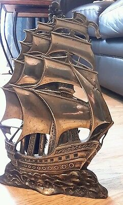Vintage Heavy Brass Fireplace Set in amazing ship shape