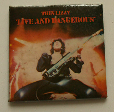 THIN LIZZY Live And Dangerous Original VTG Large Square Badge 52mm /MA029