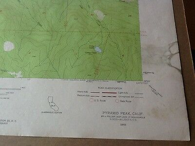 "1955 Dept Of Interior Topo Map Lot #112, Pyramid Peak, Calif., 22"" X 27"""