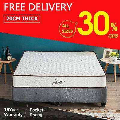 Double Queen New Elastic Pocket Spring Luxury Foam 20cm Bed Single King Mattress