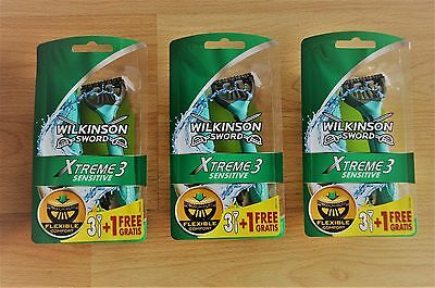 (3 x 4 Pack) Wilkinson Sword Xtreme 3 Sensitive Disposable Razor - BRAND NEW !!!