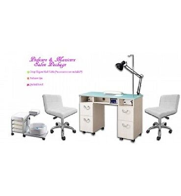 Pedicure Manicure PACK Nail Table w/ Dust Extractor, 2 stools, Pedicure Chair