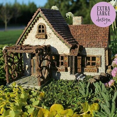 Ladybug House with Pergola Fairy cottage Home Garden Craft Décor