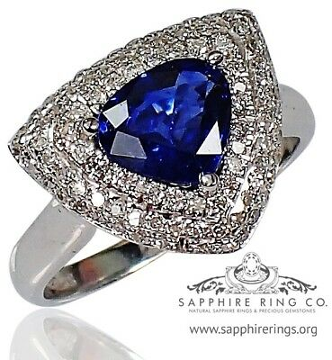 GIA Certified 18KT W/Gold 1.87 tcw Blue Pear Cut Sapphire & Diamond Ring