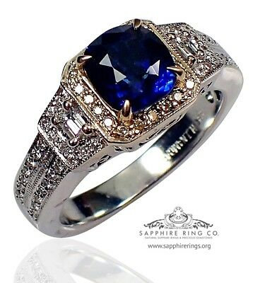 GIA Certified 18KT W/Gold 2.18 tcw Blue Cushion Natural Sapphire & Diamond Ring