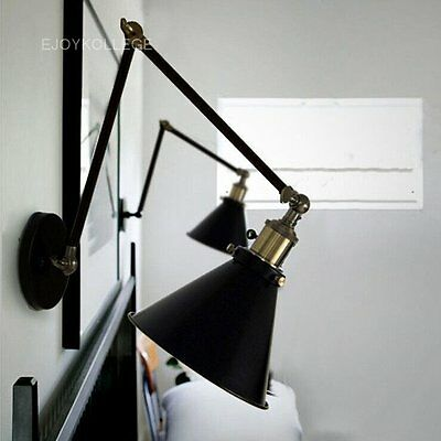 Black Industrial Vintage Metal Shade Adjust 2 Arms Wall Light Wall Sconce Lamp