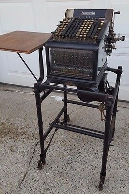 Beautiful Antique State Of Mn 1922 Burroughs Adding Machine & Stand !! Steampunk