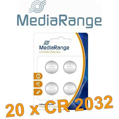 Lot de 20 piles CR2032 Mediarange Lithium 3 Volts 220 mah neuves sous blister