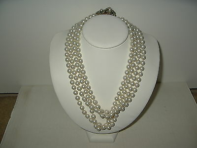 Vintage Estate Unsigned Miriam Haskell Baroque Pearl Clasp & 4 Strand Necklace