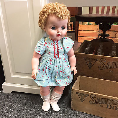 """Vintage 1950s Drink & Wet Doll Large 24"""" Sleep Eyes Root Hair Excellent Cond."""