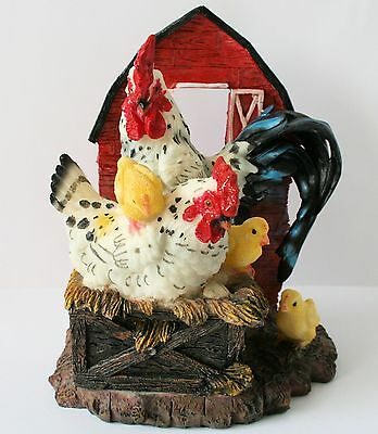 ROOSTER Hen and Chicks Figurine Statue Farm Barnyard Country Resin NEW !