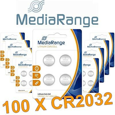 Lot de 100 piles CR2032 Mediarange Lithium 3 Volts 220 mah neuves sous blister