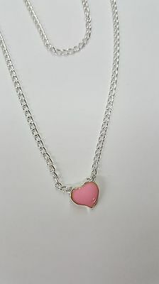 """Cute Tiny Pink Heart Necklace. 18"""" Chain"""