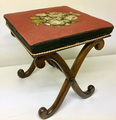 Victorian Antique Rosewood Foot Stool Ottoman X Base Bench Chair Embroidery 1815