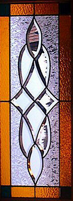 Leaded Glass Bevel Transom window or sidelight Amber & red art glass V2017