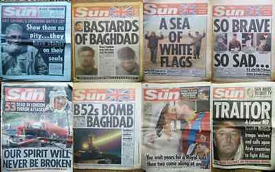 The Sun Newspaper 1st & 2nd Gulf War+Royals,1990's 2000's**SOLD INDIVIDUALLY**