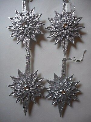 Lot of 4 Silver Glitter Star Christmas Ornaments Double Sided New by Midwest