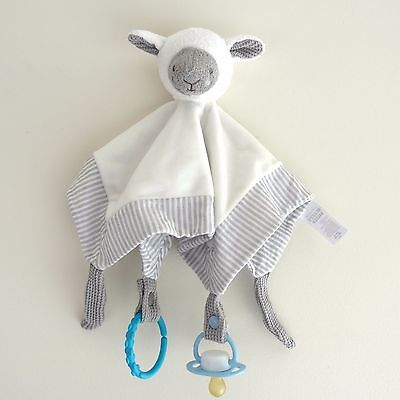 Sleepy Sheep Security Blanket Toy comforter soft cuddle dummy clip holder