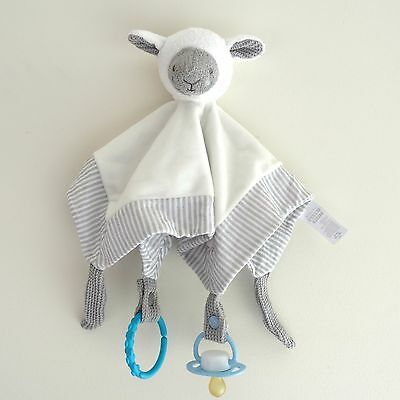 Sleepy Sheep Security cuddle Blanket soft toy Comforter dummy clip holder