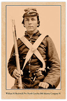 Confederate William Rockwell NC Civil War Vintage Photograph Card CDV RP