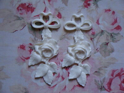 New!  Rose & Leaves Drops ~ Pair Architectural Furniture Appliques Mount