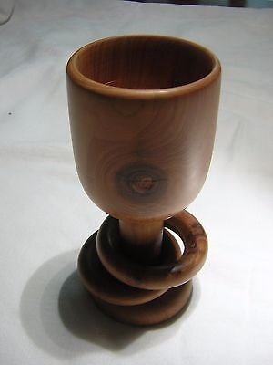 Hand Turned Wooden Wedding Goblet w/ 2 Captive Carved Rings 5.25 tall x 2.25dia