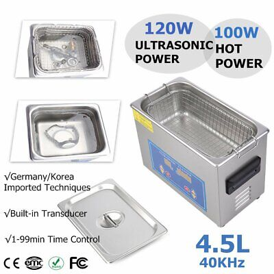 Pro Stainless Steel 4.5L Liters 120W Digital Ultrasonic Cleaner Heater Timer HL
