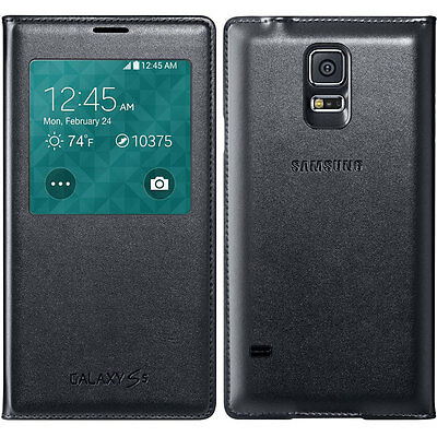 Original OEM Samsung S-View Wireless Charging Cover (Black) for Galaxy S5