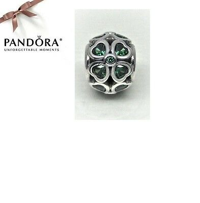 Authentic Pandora Sterling Silver & Green CZ LUCKY CLOVER Charm 791496CZN