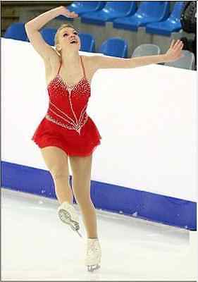 Stylish Ice skating dress.Red Competition Figure Skating dress.Twirling custom