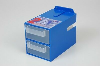 Fischer Plastic Products 2 Drawer Organiser 1H-048 (with clear drawers) Blue