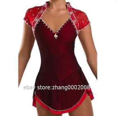Sparkles Ice skating dress.Red Competition Figure Skating dress.Twirling custom