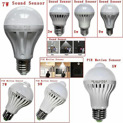 3W/5W/7W/9W LED Sound PIR Motion Sensor Ball Light Globe Bulb Corridor Lamp