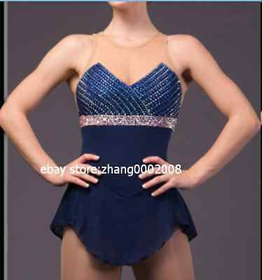 Ice skating dress. Navy Blue Competition Figure Skating dress. Baton Twirling