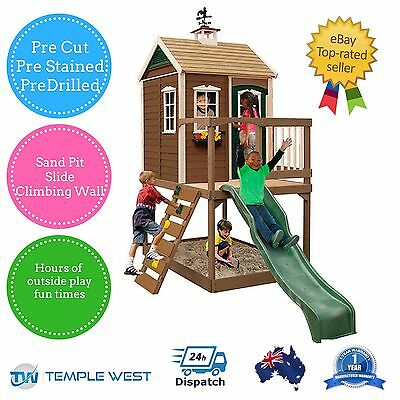 NEW Large Backyard Wooden Cubby House Sand Pit Climbing Wall Slide Outside Play