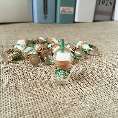 10Pcs Dollhouse Miniature Starbucks Coffee Cups 1:6 Scale Model Brown