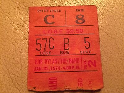 bob dylan and the band Jan 31 1974 Madison Square Garden ticket stub