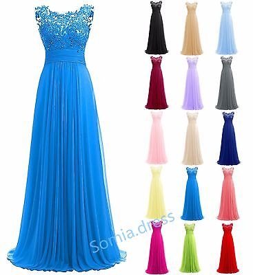 New Lace Long Chiffon Bridesmaid Formal Ball Party Cocktail Evening Prom Dresses