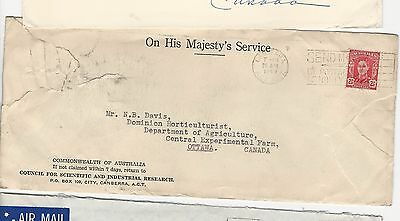 Australia Cover 1949  Ohms Agriculture Experiment To Canada Agriculture Dept Far