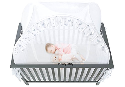 Baby Crib Play Shades & Tent Safety Net Pop Up Canopy Cover Nursery Furniture