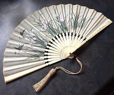 Elegant antique carved & finely embroidered silk fan, Chinese, c1900, w box