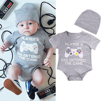 Infant Baby Boy Girl Romper + Hat Set Newborn Bodysuit Jumpsuit Clothes Outfits